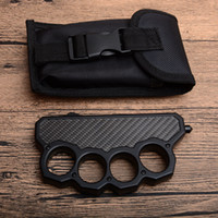 Yeni Varış Siyah Knuckle Duster Oto Taktik bıçak D2 Çift Kenar Saten Bıçak Çelik + Karbon Fiber Kolu Açık EDC Kurtarma bıçaklar