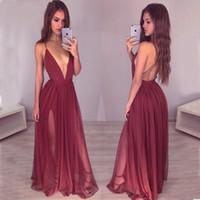 Сексуальные глубокие V-образным вырезом с открытой спиной бордовые платья выпускного вечера 2019 ремни спагетти красное вино сплит длинные вечерние платья дешевые платья для особых случаев