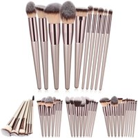 Delicate Kit Champagne Makeup Brushes Set For Foundation Pow...
