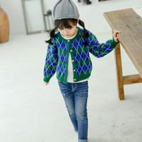Kids Brand Sweater Girls Designer Knit Cardigan Geometric Print Tops Sweet British Style New Fashion Style 2019 Autumn Top Quality