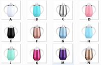 Sippy cup 10oz كيد زجاجة المياه الفولاذ المقاوم للصدأ بهلوان الفولاذ مع مقبض النبيذ النبيذ أكواب البيض مع مقبض وغطاء في المخزون