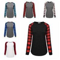 Shirt Xmas Elk manica lunga Lettera di Natale T-shirt Donne Plaid Plus Size Top stampati autunno T del cotone camicetta O Collo Blusas AZYQ6775