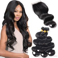 Pervian Virgin Body Waves Lace Closure With 3 Bundle Double ...