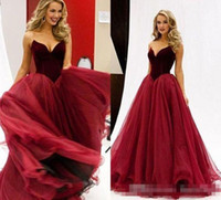 Rojo oscuro una línea de tul largo de baile 2K 16 barato formal vestidos de noche Sweet 16 Vestidos de quinceañera