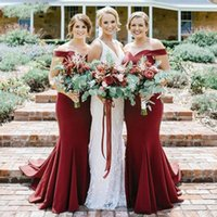wholesale Burgundy Mermaid Satin Bridesmaid Dresses Formal V...