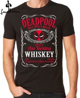 Moda T-shirt Dos Homens Camisa Deadpool Uísque T-shirt Uísque Mash Up Tops Negros S 3xl T-shirt Casual