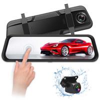 10 pulgadas de la pantalla táctil del espejo corriente salpicadero del coche DVR registrador de la leva 1080P FHD cámara frontal trasera 170 ° 140 ° de visión nocturna ángulo de visión amplio