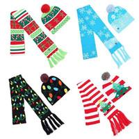 LED Luce up di Natale in maglia a righe Inverno Sciarpe Beanie Hat Set colorato illuminazione Occasioni speciali eventi festivi Sciarpe CA10670 50set