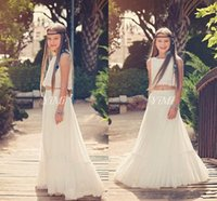 Summer Bohemian Flower GIrl Dresses For Wedding Two Pieces J...