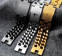 22 mm de ancho enorme 8.66 '' / oro / plata de acero inoxidable negro doble cadena de eslabones encintado ID brazalete de identificación PULSERA bíblica cruz para hombre de la joyería
