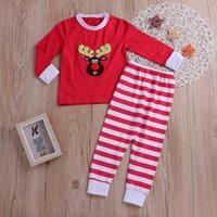 Novas Crianças equipamento do Natal Meninos Meninas manga comprida Red Deer Tops + calça listrada 2pcs Kids Clothing Pudcoco Moda