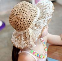 15530 Verano hecha a mano sombrero de mamá bebé de la paja Niños bebés Cap Fishman Niño del Bowknot del cordón ata para arriba el sombrero del cubo Peaked Beach Gorra para el sol