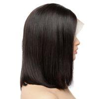 Kısa İnsan Saç Peruk İçin Siyah Kadınlar Remy Saç Dantel Açık Peruk Öncesi Mızraplı Satine Blunt Kesim Bob Peruk Gerçek İnsan Saç