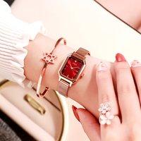 손목 시계 라인 석 광장 여성 시계 2021 레트로 미니 스테인레스 스틸 메쉬 벨트 작은 다이얼 얇은 스트립 석영 팔찌 시계 Reloj