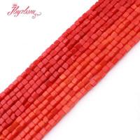 3 mm Corail Rouge Orange Square Perles Perles lisse en pierre naturelle pour le bricolage Collier Bracelets Boucles d'oreilles Bijoux Faire 15