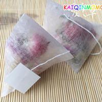 1000pcs / lot de maíz fibra té bolsas Forma piramidal sellado en caliente Filtro Bolsitas de té PLA biodegrada Filtros 5.8 * 7cm