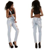 Bretelles Jeans Femme One-Piece Jumpsuit Casual Jeans Pantalons Total Ripped bretelles Pantalon Europe et en Amérique