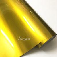 1.52x20m 프리미엄 골드 공기 거품 무료 광택 금속 PVC 셀프 접착 필름 자동차 랩 스티커 비닐
