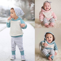 Retail Newborn baby stripe hooded 2pcs pant Suit Long Sleeve...