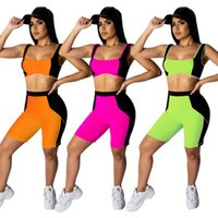 Sleeveless Color Matching Tracksuit Vest+ pants Womens Two Pi...