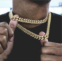Hip Hop18MM Corrente De Ouro Para Os Homens Iced Out Cadeia Colar de Jóias Colar de Ligação Cuban Moda Colar Do Punk 18,20, 24,30 Polegada