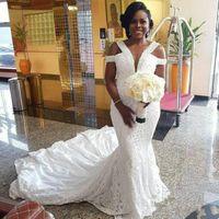 2020 Nuevos vestidos de novia Nigeria de encaje de la sirena sexy más talla grande con cuentas Abiti Da Sposa Vestidos nupciales Sudáfrica