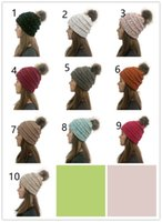 Winter Women Knitted Hat Warm Pom Pom colorful Wool Hat Ladi...