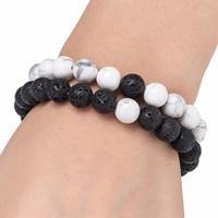 Femmes Hommes naturel Lava Rock Perles Chakra Bracelets énergie de guérison Pierre méditation Mala Bracelet Mode Huile Essentielle Diffuseur Bijoux