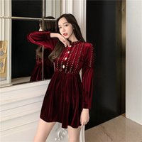 Girls Velour Vintage Mini Dresses Women Long Sleeve Fit And ...