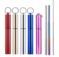 Portable Reusable Folding Drinking Straws Stainless Steel Me...