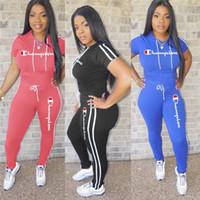 61372cba9fac3 Wholesale girls plus size leggings for sale - Summer Short Sleeve T shirt  Pants Tracksuit Champions