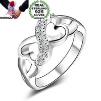 OMHXZJ Großhandel Persönlichkeit Mode OL Frau Mädchen Party Hochzeitsgeschenk Weiß Glück 8 925 Sterling Silber Ring RN124