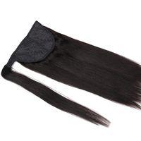 9A Grade Straight Ponytail Hair Extensions 100% Real Virgin Braziliaanse Remy Menselijk Haar Peruaanse Maleisische Indiase Clip in Hair Extension 120G