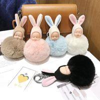 30pcs / Lot Плюшевых куклы брелка прекрасного ухо кролика Спящий ювелирных изделий младенец Брелок Креативных подарки Мода для девочек сумка украшение