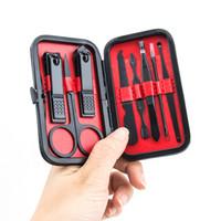 8pcs Manicure Set Kit nero dell'acciaio inossidabile Pedicure Scissor Tweezer Nail Clippers Set arte del chiodo lavora