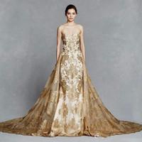 Lindo overskirt sereia Vestidos de casamento com destacáveis trem pescoço namorada Lace apliques Sweep Trem Tulle ouro Capela vestidos de noiva
