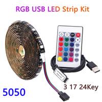 DC 5V RGB USB светодиодные светильники лампы 5050 60LEDS / м 0,5 м 1 м 2 м 3 м 4 м 5 м светодиодные гибкие ленты Ambilight TV Backlight + IR RF контроллер