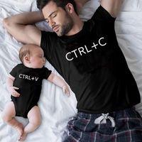 Família Correspondência Roupa Ctrl + C e Ctrl + V Pai Filho Camiseta Família Olhar Diz T-shirt Bebê Bodysuit Family Effits