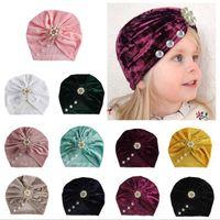 İncilerinizide Kadife Bebek Şapka Kız Sonbahar Kış Erkek Cap Fotoğrafçılık Dikmeler Elastik Bebek Beanie Turban Şapka Bebek Aksesuarları