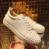 Low top red bottom sneakers for men c leather men womens sho...