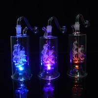 "Banger 20"" Hortum ile Renkli Bongs LED Işık Petrol Kuyuları Mini Cam Suyu Bongs Nargile Yelkenli Dab Rig Recycler Bubbler Percolator"