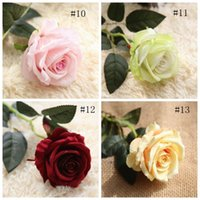 Fiori artificiali Rose Bouquet 10 pz / lotto decorazioni di nozze vero tocco Materiale Casa Decorazione Del Partito falso stelo singolo floreale CYL-YW1063