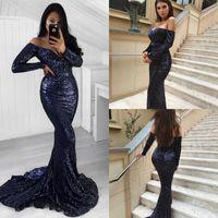 Plus Size Sirena Paillettes Abiti da sera Blu scuro Glitter Off spalla maniche lunghe Abiti da ballo Bling Sexy Backless Ladies Pageant Formal