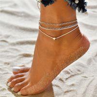 2020 Mujeres para el tobillo simples del corazón descalzo sandalias de ganchillo pie joyería Two Legs Capa de pie para el tobillo pulsera