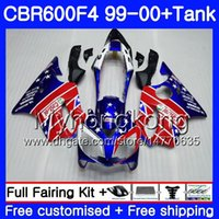 BODY + TANQUE PARA HONDA CBR 600 F4 FS CBR 600F4 Marco azul brillante CBR600F4 99 00 287HM.AA CBR600FS CBR600 F 4 CBR600 F4 1999 2000 Kit de carenado
