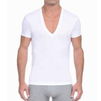 V profundo do pescoço camiseta manga curta Casual Solid Homens KalvonFu Undershirt Mens Cotton T-shirt Verão Básico