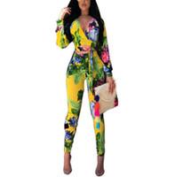 꽃 무늬 정장 여성 패션 2 종 세트 인쇄 섹시한 V 넥 점프 수트 긴 소매 자르기 최고 붕대 바지 바지