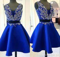 뜨거운 판매 두 조각 로얄 블루 짧은 홈 컴컴스 드레스 섹시한 V 목 페르시 크리스탈 댄스 파티 드레스 2019 미니 칵테일 파티 드레스