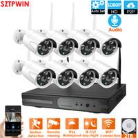 8CH Audio CCTV Система беспроводной системы 1080P NVR 8 шт. 2.0MP IR Открытый P2P WiFi IP CCTV Безопасность Камера Набор системы наблюдения