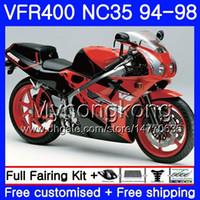 키트 HONDA 용 RVF400R V4 VFR400R 레드 블랙 핫 1994 1995 1996 1997 1998 270HM.35 VFR400 RVF VFR 400 R NC35 VFR 400R 94 9596 97 98 페어링